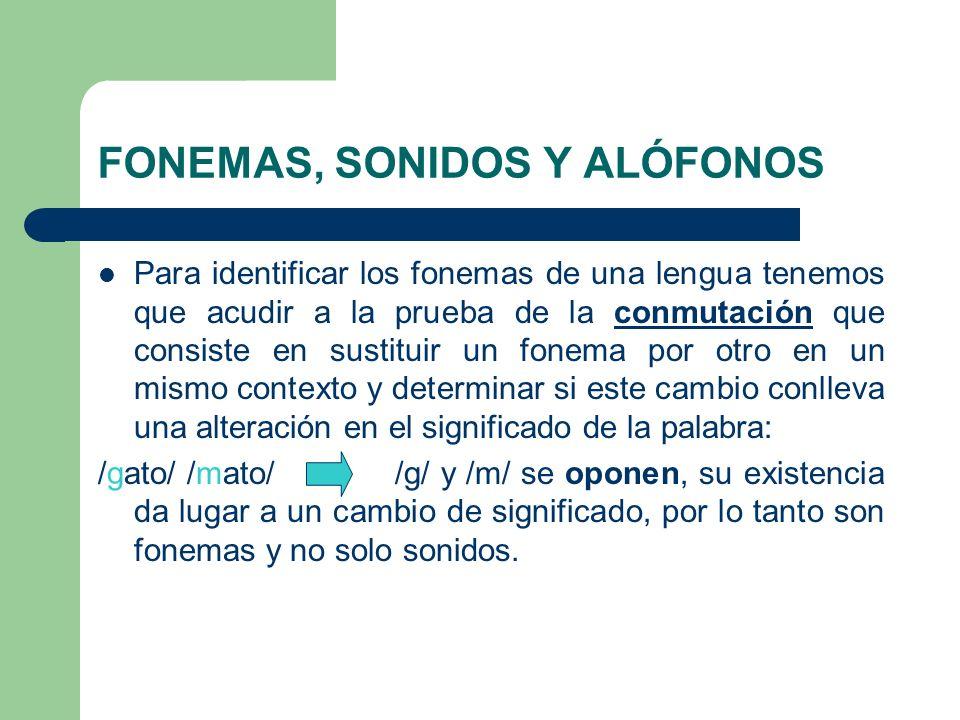 FONEMAS, SONIDOS Y ALÓFONOS