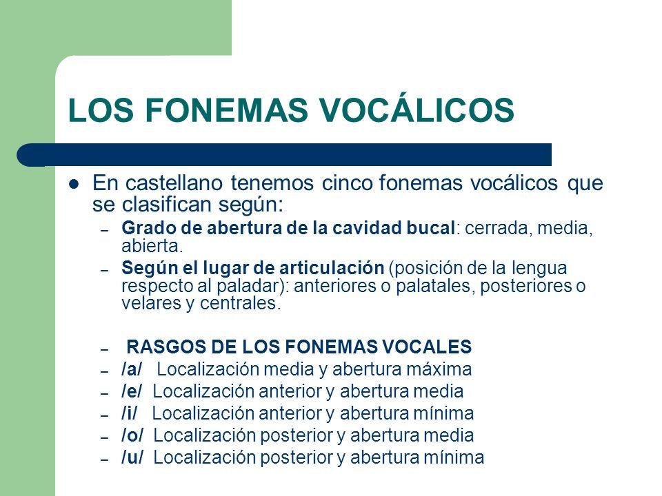 LOS FONEMAS VOCÁLICOS En castellano tenemos cinco fonemas vocálicos que se clasifican según: