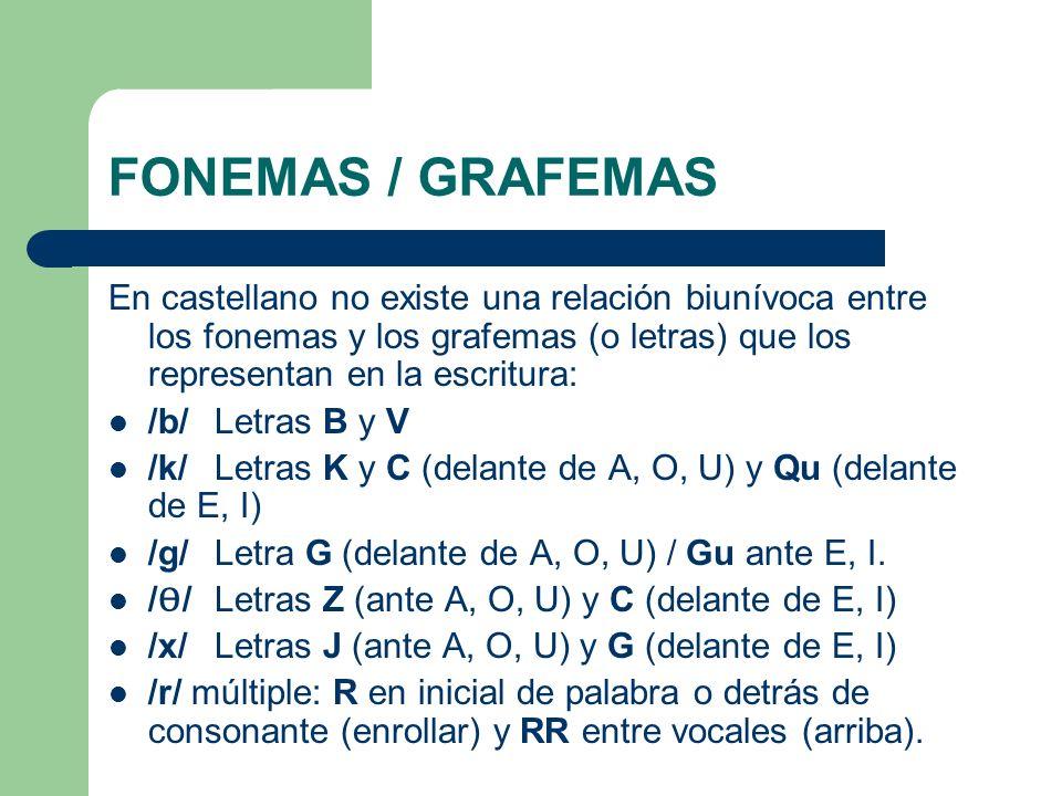 FONEMAS / GRAFEMAS En castellano no existe una relación biunívoca entre los fonemas y los grafemas (o letras) que los representan en la escritura: