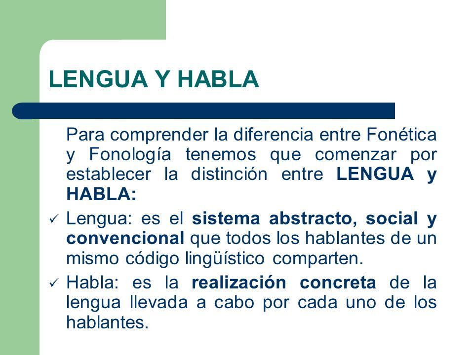LENGUA Y HABLA Para comprender la diferencia entre Fonética y Fonología tenemos que comenzar por establecer la distinción entre LENGUA y HABLA: