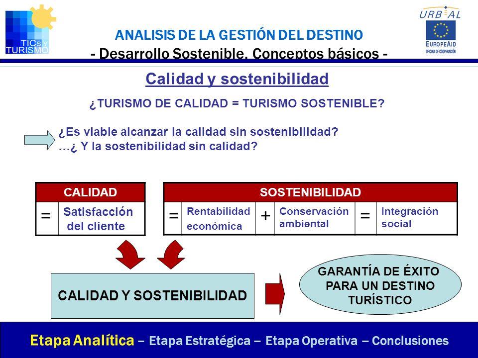 = = + Calidad y sostenibilidad
