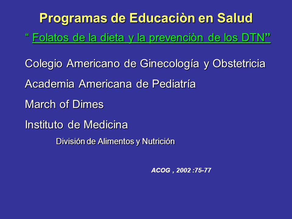 Programas de Educaciòn en Salud Folatos de la dieta y la prevenciòn de los DTN