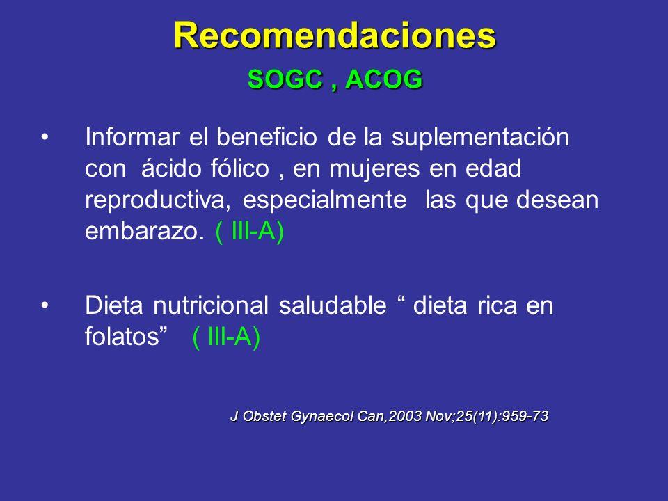 Recomendaciones SOGC , ACOG