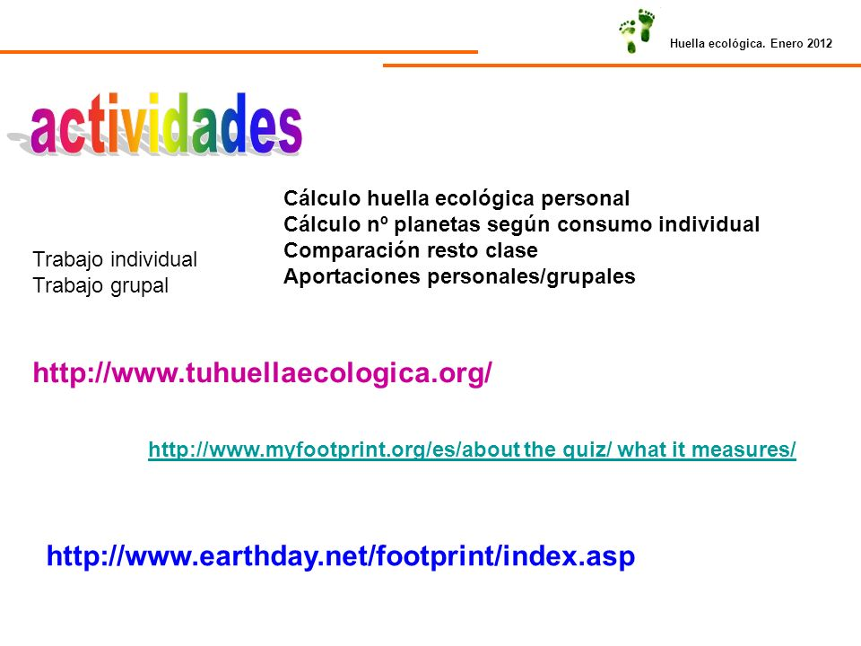 actividades http://www.tuhuellaecologica.org/