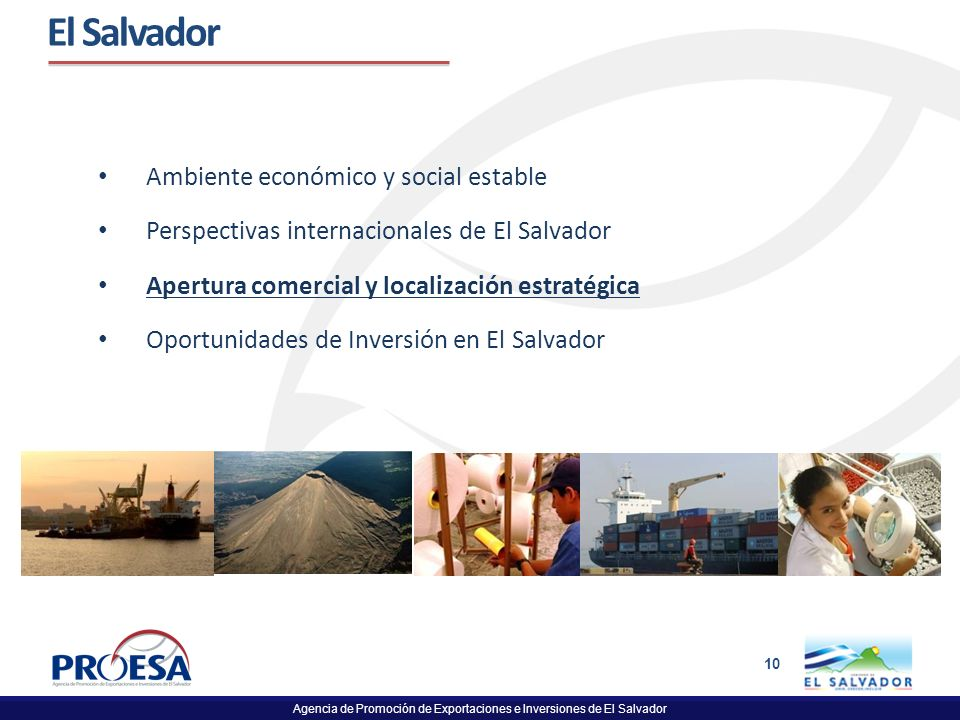 El Salvador Ambiente económico y social estable
