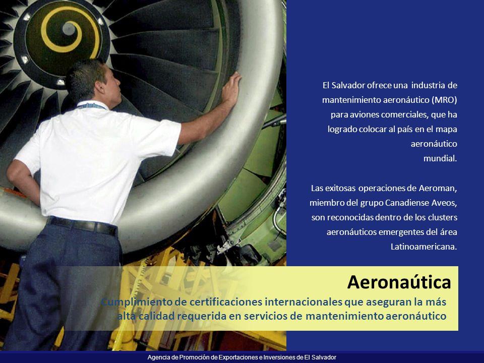 El Salvador ofrece una industria de mantenimiento aeronáutico (MRO) para aviones comerciales, que ha logrado colocar al país en el mapa aeronáutico mundial.