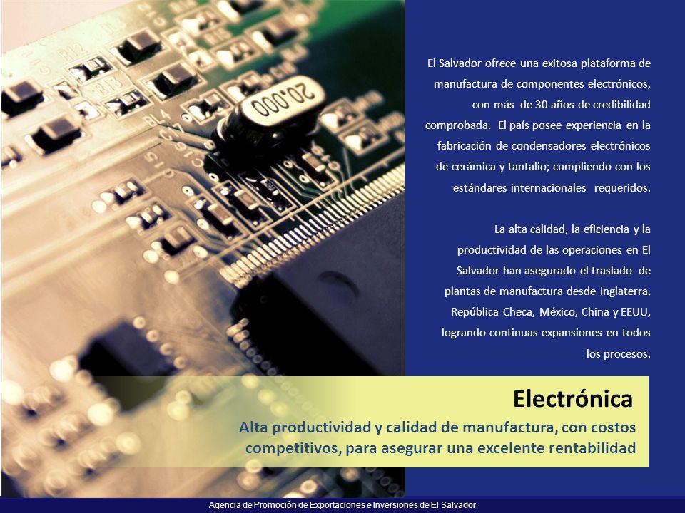 Electrónica Alta productividad y calidad de manufactura, con costos