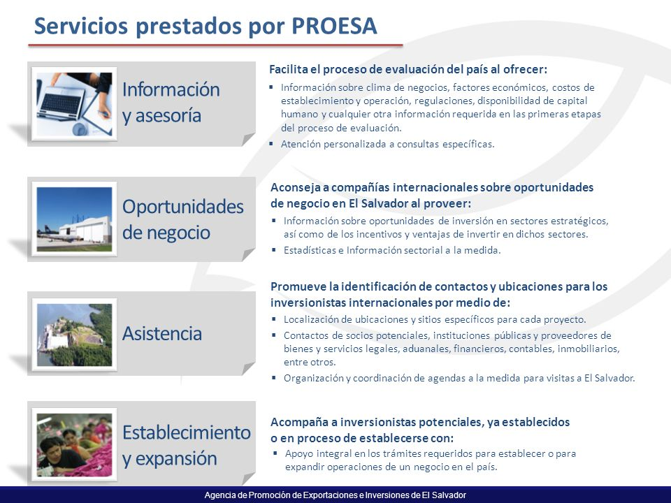 Servicios prestados por PROESA