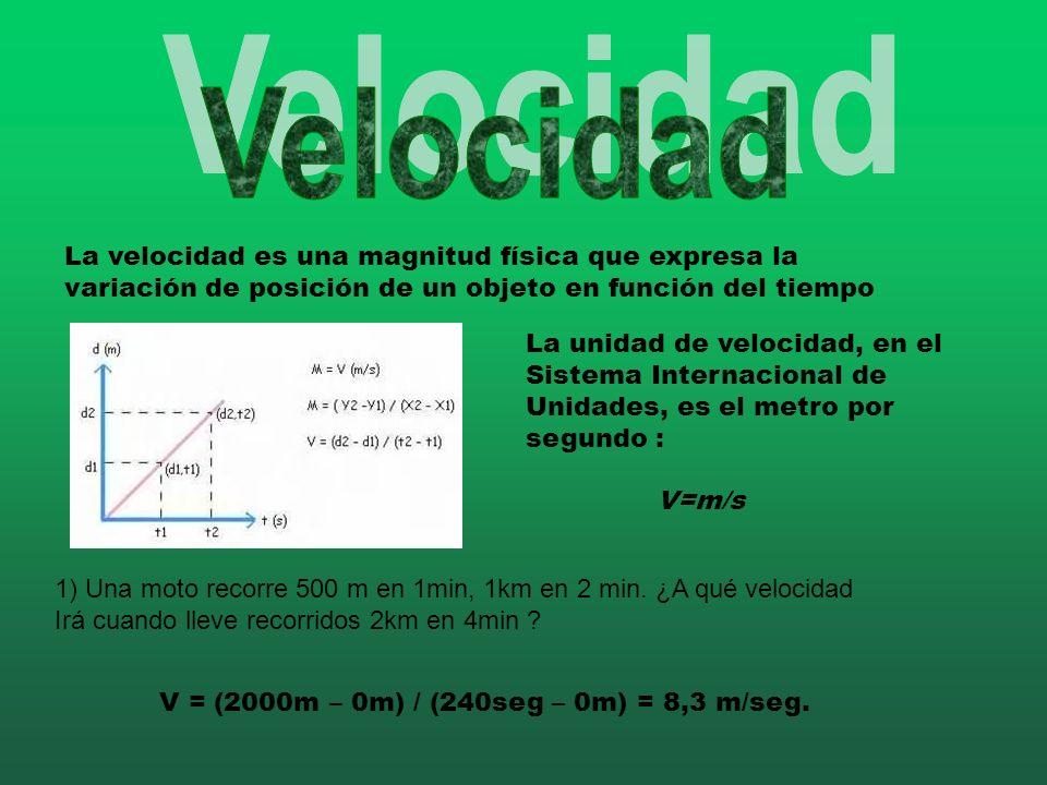 Velocidad La velocidad es una magnitud física que expresa la variación de posición de un objeto en función del tiempo.