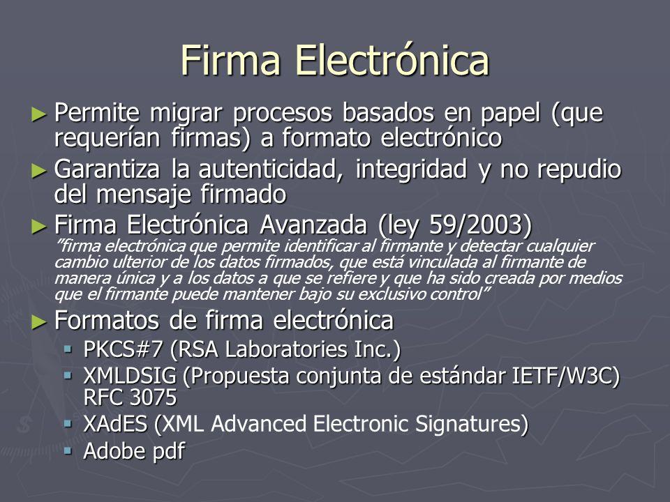 Firma Electrónica Permite migrar procesos basados en papel (que requerían firmas) a formato electrónico.