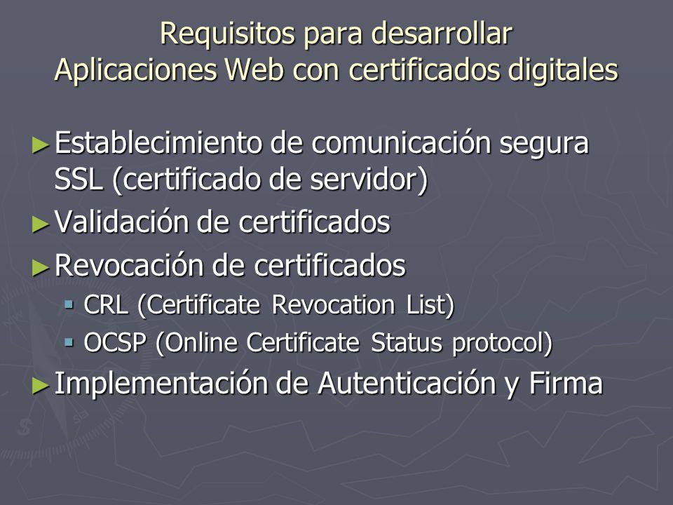 Establecimiento de comunicación segura SSL (certificado de servidor)