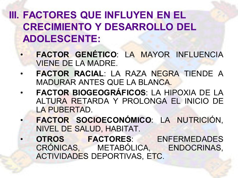 III. FACTORES QUE INFLUYEN EN EL CRECIMIENTO Y DESARROLLO DEL ADOLESCENTE: