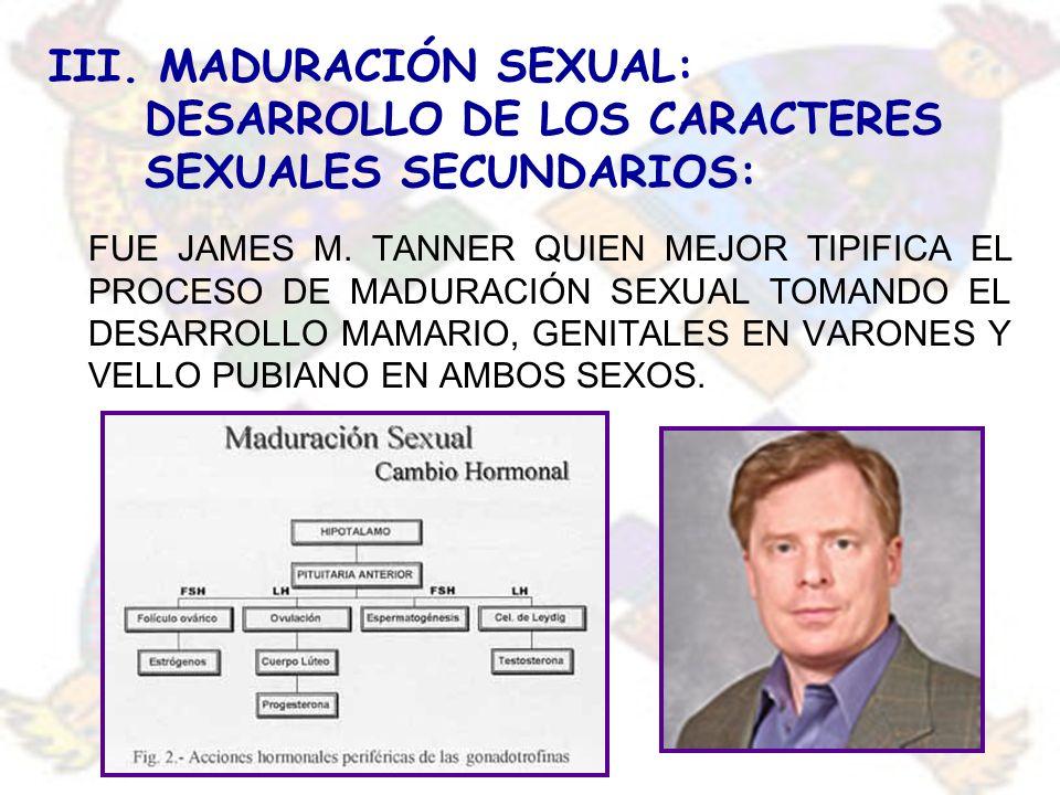 III. MADURACIÓN SEXUAL: DESARROLLO DE LOS CARACTERES SEXUALES SECUNDARIOS: