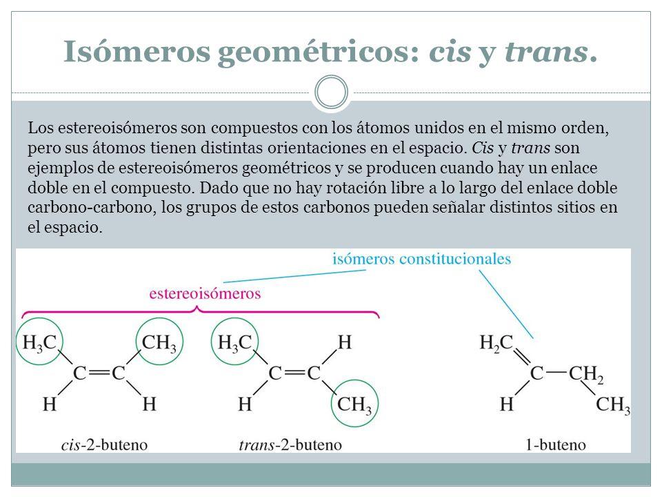 Isómeros geométricos: cis y trans.