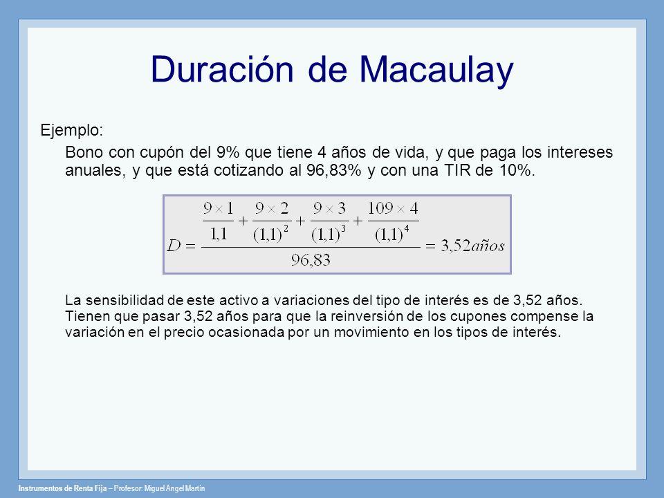 Duración de Macaulay Ejemplo: