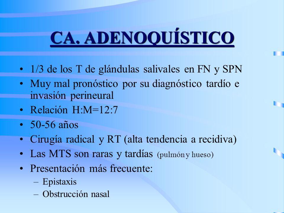 CA. ADENOQUÍSTICO 1/3 de los T de glándulas salivales en FN y SPN