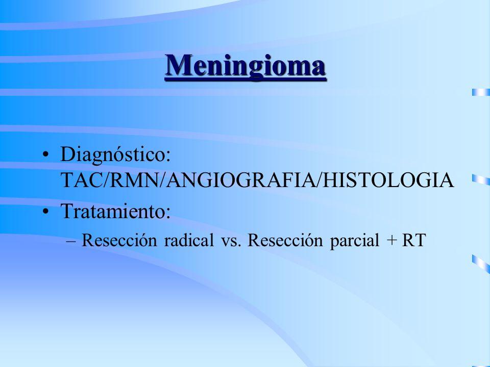 Meningioma Diagnóstico: TAC/RMN/ANGIOGRAFIA/HISTOLOGIA Tratamiento:
