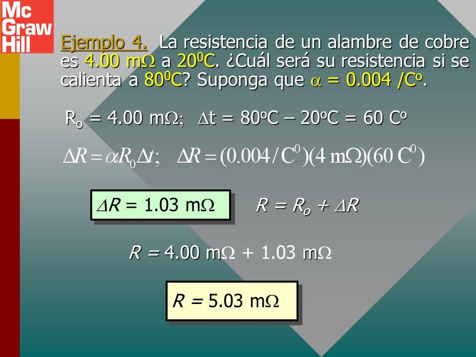 Ejemplo 4. La resistencia de un alambre de cobre es 4. 00 mW a 200C