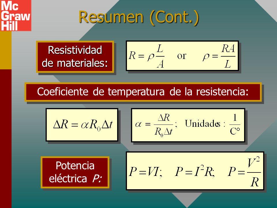 Resumen (Cont.) Resistividad de materiales: