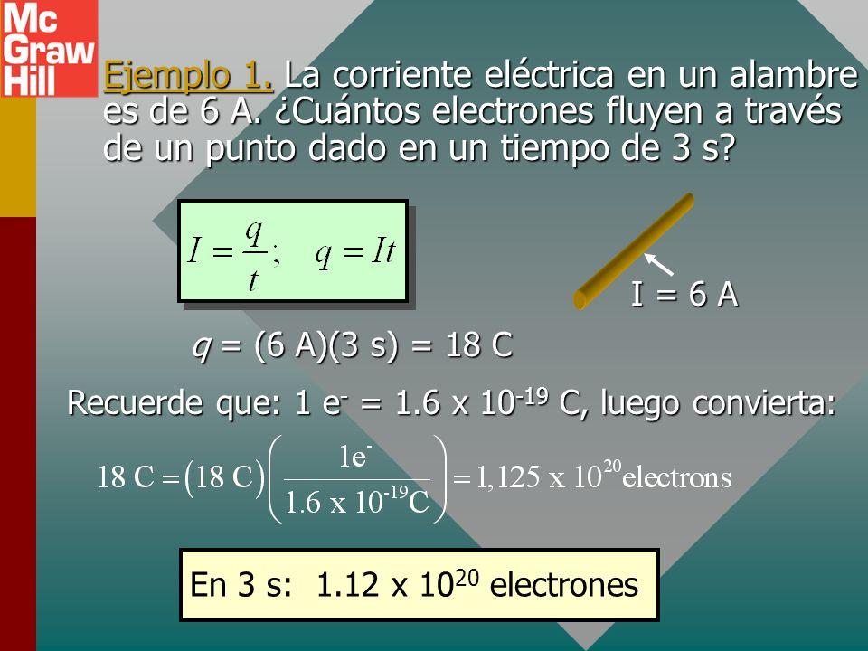 Ejemplo 1. La corriente eléctrica en un alambre es de 6 A