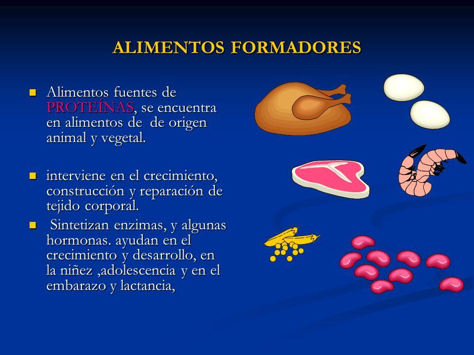 ALIMENTOS FORMADORES Alimentos fuentes de PROTEÍNAS, se encuentra en alimentos de de origen animal y vegetal.
