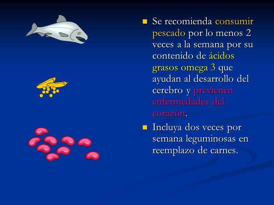 Se recomienda consumir pescado por lo menos 2 veces a la semana por su contenido de ácidos grasos omega 3 que ayudan al desarrollo del cerebro y previenen enfermedades del corazón.
