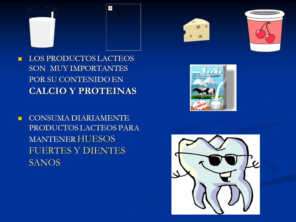 LOS PRODUCTOS LACTEOS SON MUY IMPORTANTES POR SU CONTENIDO EN CALCIO Y PROTEINAS