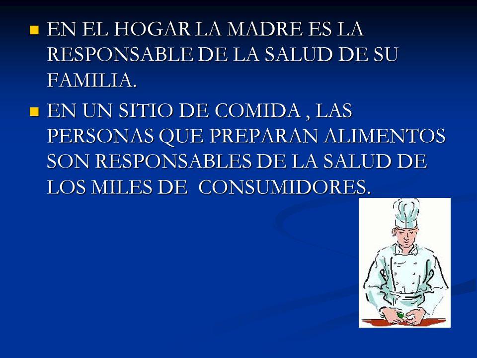EN EL HOGAR LA MADRE ES LA RESPONSABLE DE LA SALUD DE SU FAMILIA.