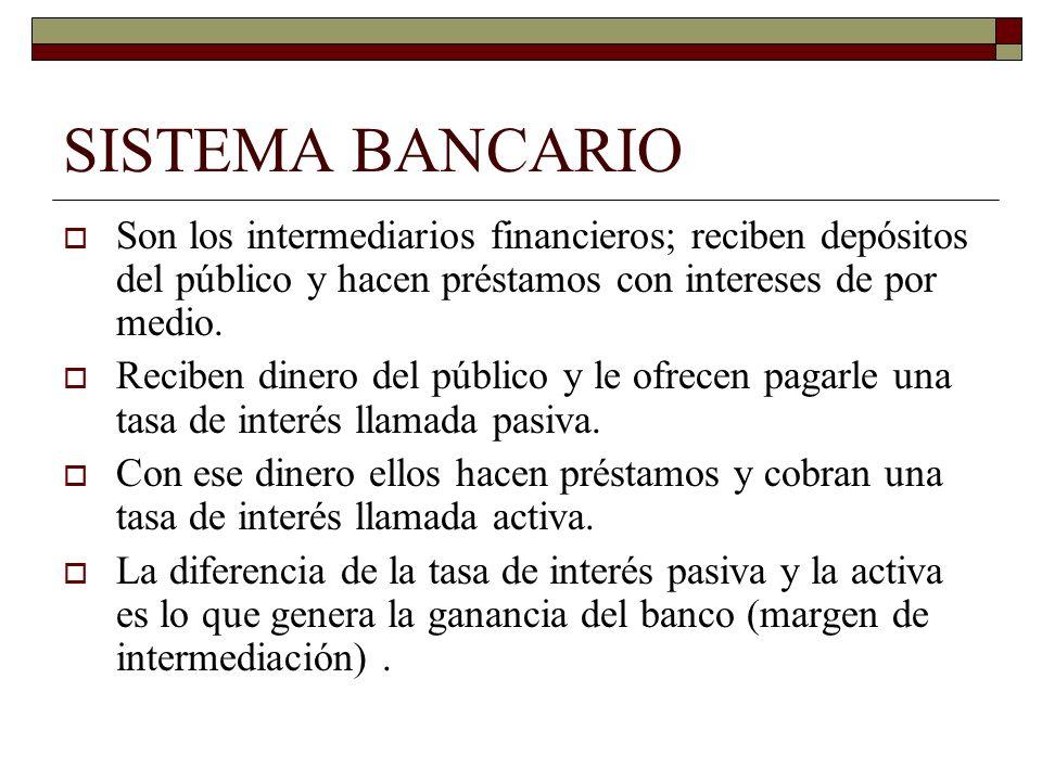 SISTEMA BANCARIOSon los intermediarios financieros; reciben depósitos del público y hacen préstamos con intereses de por medio.