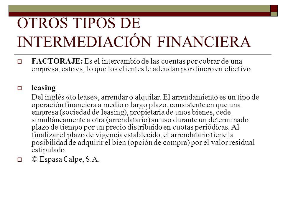 OTROS TIPOS DE INTERMEDIACIÓN FINANCIERA