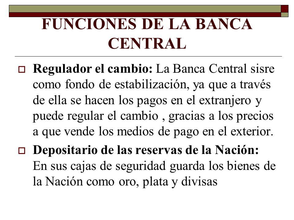FUNCIONES DE LA BANCA CENTRAL