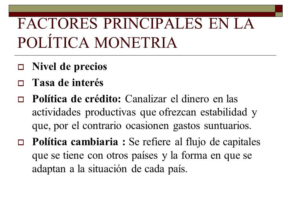 FACTORES PRINCIPALES EN LA POLÍTICA MONETRIA