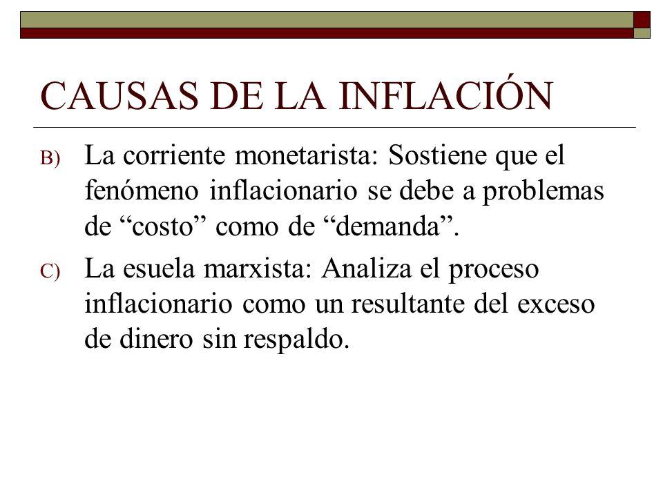 CAUSAS DE LA INFLACIÓNLa corriente monetarista: Sostiene que el fenómeno inflacionario se debe a problemas de costo como de demanda .