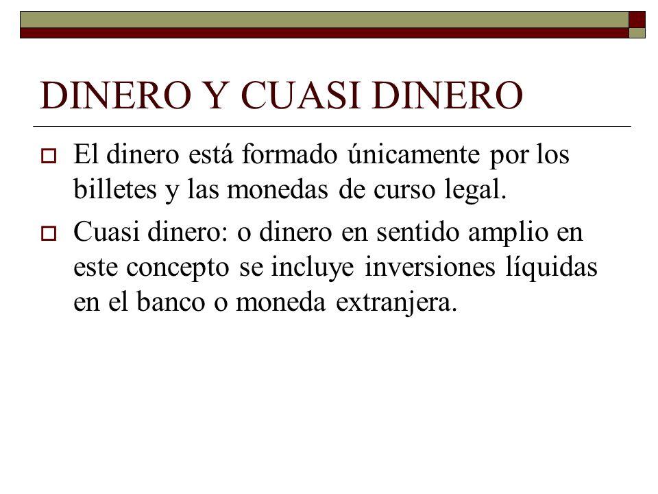 DINERO Y CUASI DINEROEl dinero está formado únicamente por los billetes y las monedas de curso legal.