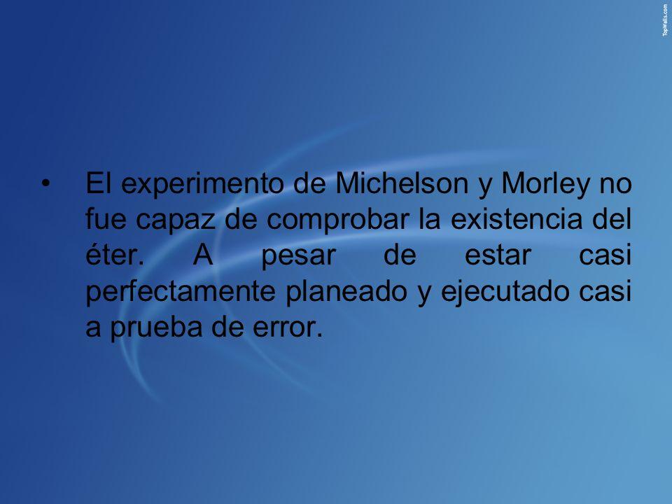 El experimento de Michelson y Morley no fue capaz de comprobar la existencia del éter.