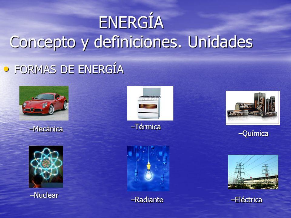 ENERGÍA Concepto y definiciones. Unidades