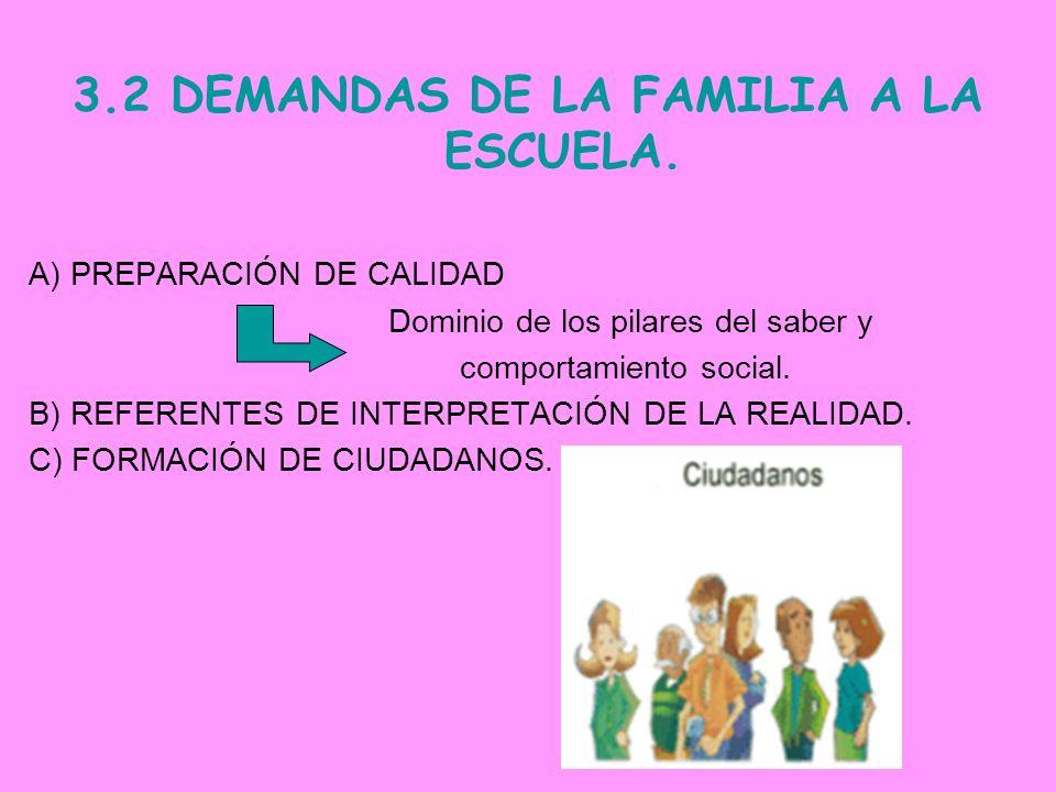 3.2 DEMANDAS DE LA FAMILIA A LA ESCUELA.