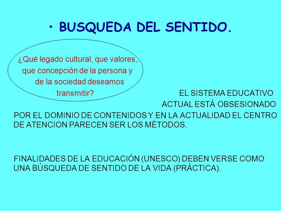 BUSQUEDA DEL SENTIDO. ¿Qué legado cultural, que valores,