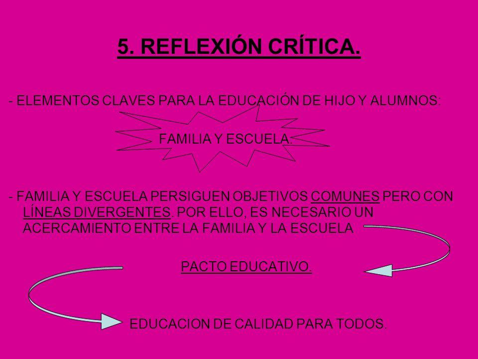 5. REFLEXIÓN CRÍTICA. - ELEMENTOS CLAVES PARA LA EDUCACIÓN DE HIJO Y ALUMNOS: FAMILIA Y ESCUELA.