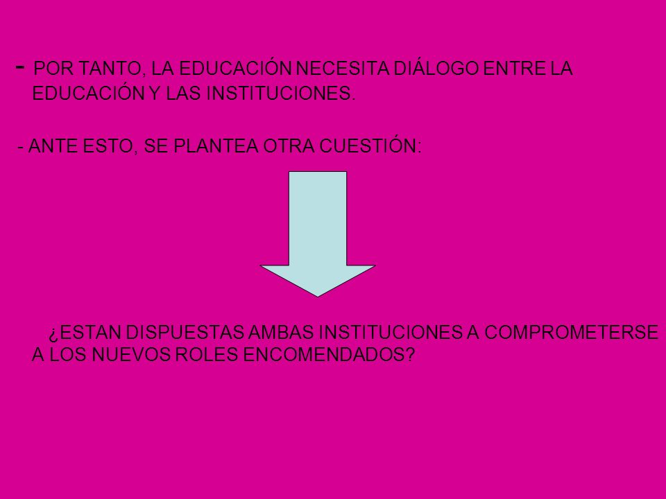 - POR TANTO, LA EDUCACIÓN NECESITA DIÁLOGO ENTRE LA EDUCACIÓN Y LAS INSTITUCIONES.