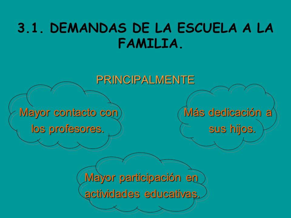 3.1. DEMANDAS DE LA ESCUELA A LA FAMILIA.