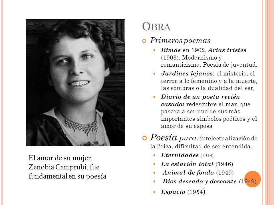 ObraPrimeros poemas. Rimas en 1902, Arias tristes (1903). Modernismo y romanticismo. Poesía de juventud.