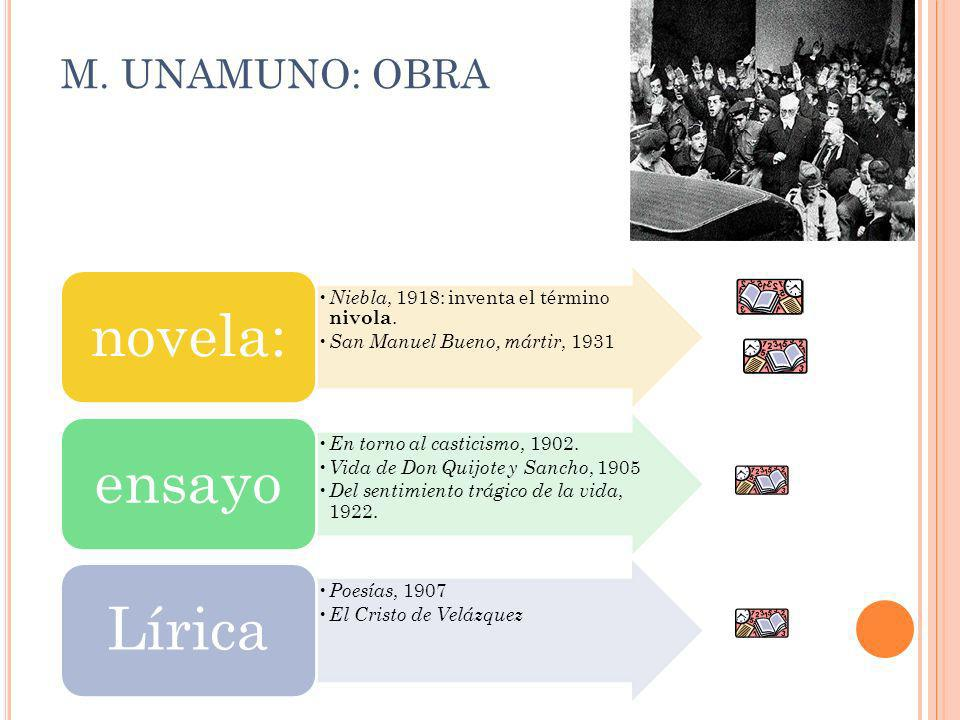 M. UNAMUNO: OBRA novela: Niebla, 1918: inventa el término nivola.
