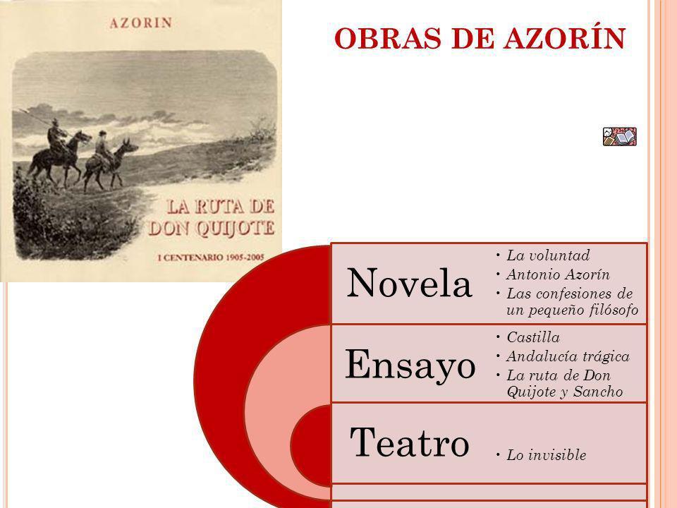 OBRAS DE AZORÍN Novela La voluntad Antonio Azorín