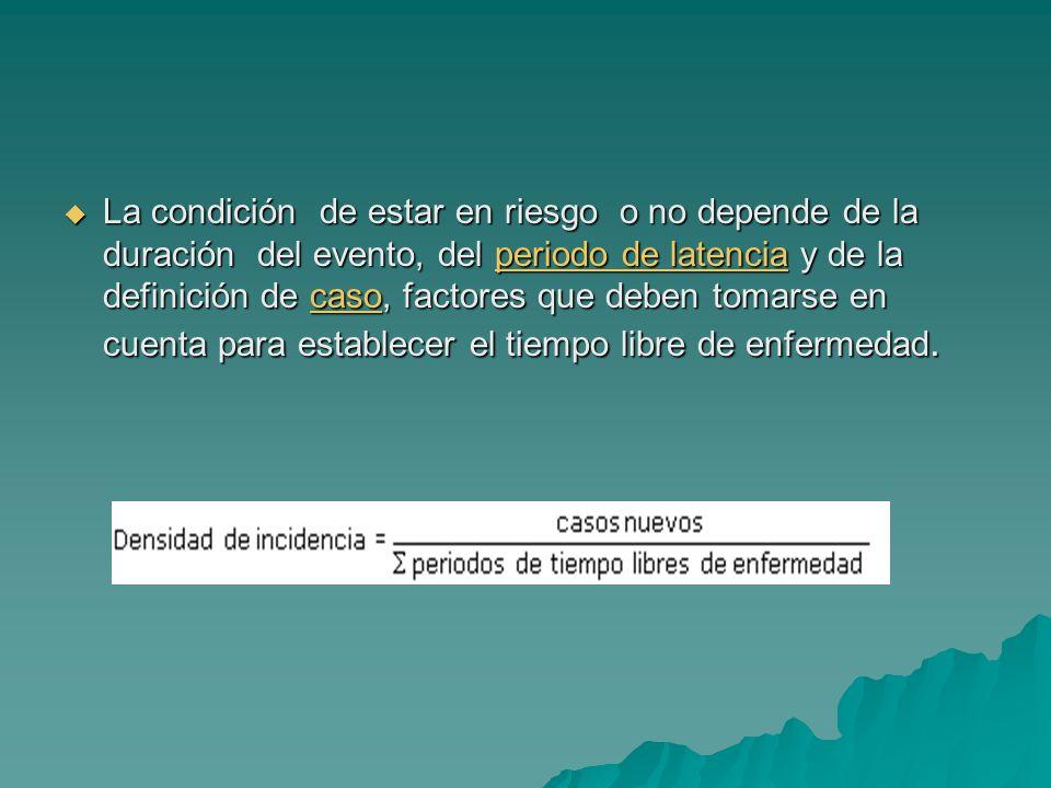 La condición de estar en riesgo o no depende de la duración del evento, del periodo de latencia y de la definición de caso, factores que deben tomarse en cuenta para establecer el tiempo libre de enfermedad.