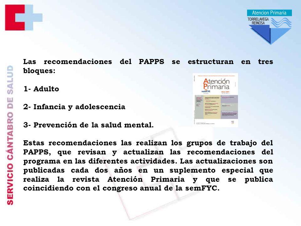 Las recomendaciones del PAPPS se estructuran en tres bloques: