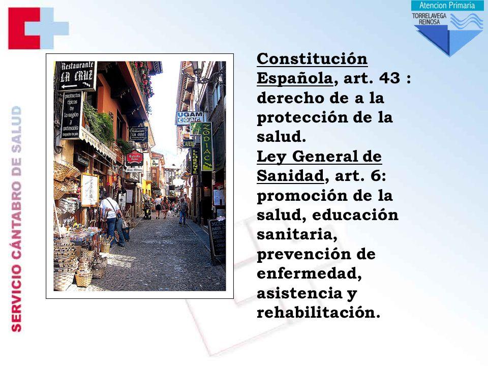 Constitución Española, art. 43 : derecho de a la protección de la salud.