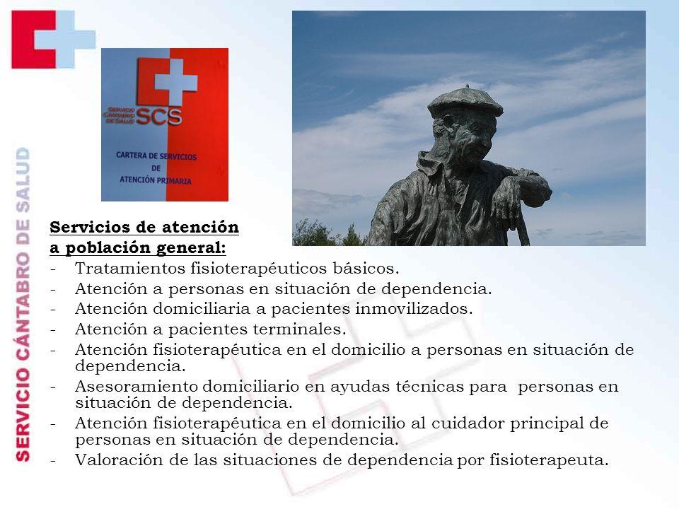 Servicios de atención a población general: Tratamientos fisioterapéuticos básicos. Atención a personas en situación de dependencia.