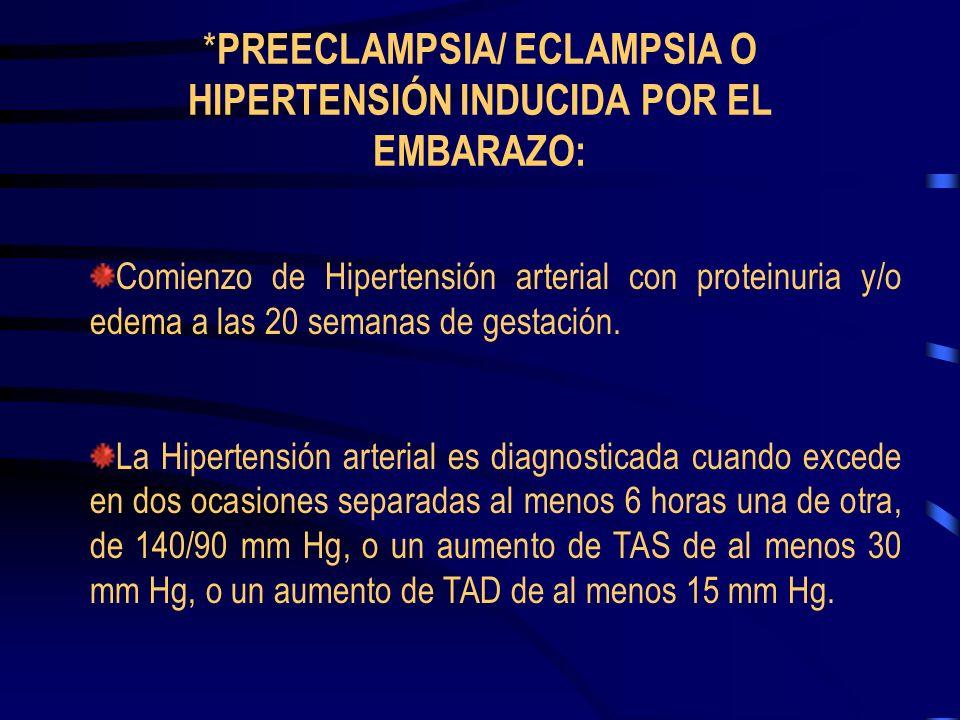*PREECLAMPSIA/ ECLAMPSIA O HIPERTENSIÓN INDUCIDA POR EL EMBARAZO: