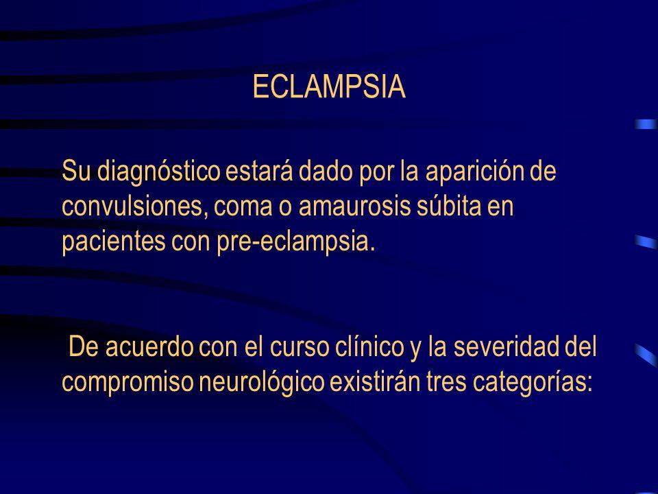 ECLAMPSIA Su diagnóstico estará dado por la aparición de convulsiones, coma o amaurosis súbita en pacientes con pre-eclampsia.